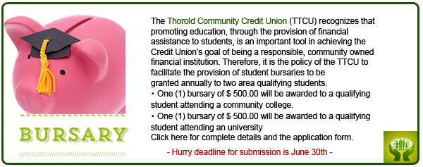 Thorold Community Credit Union Bursary Winner 2015